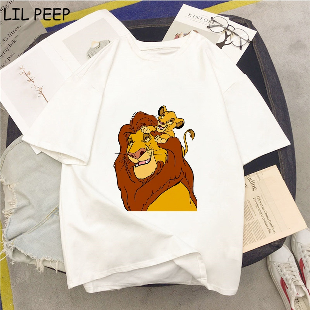 Funny Tees The <font><b>Lion</b></font> <font><b>King</b></font> <font><b>Hakuna</b></font> <font><b>Matata</b></font> Womens Shirts Casual Polyester Graphic Tees Women 90s White T Shirt Punk Womens Clothing image