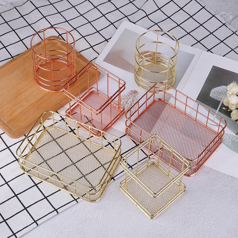 Dressing Table Makeup Cosmetic Organizer Box Storage Cup Rose Gold Iron Art Nordic Makeup Organizer Basket Eyeliner Brush Set