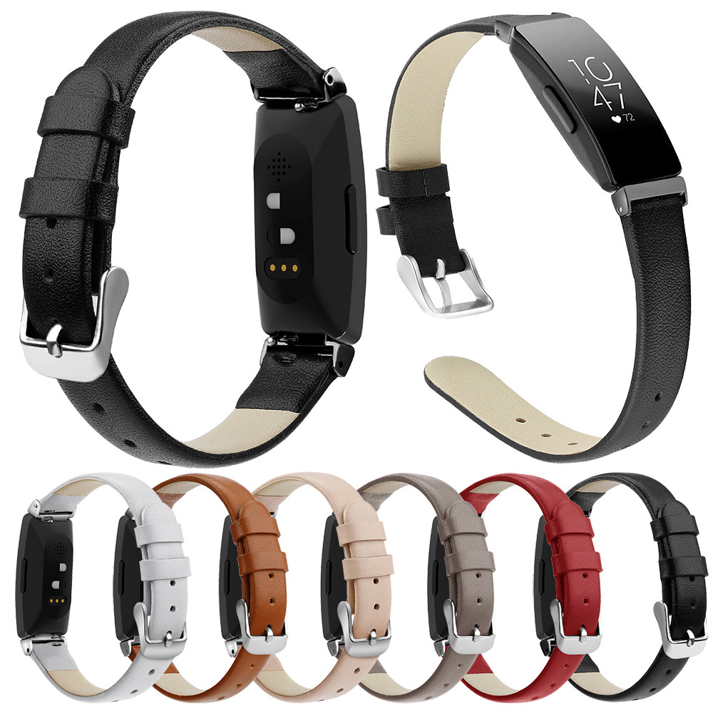 Essidi Leather Strap For Fitbit Inspire Inspire HR Smart Wristband Slim Bracelet Band Loop Buckle For Inspire Inspire HR Parts