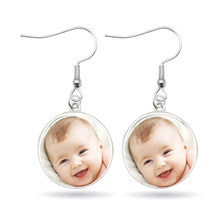 Handmade Personality Photo Family Photo Baby Child Dad Mom Brother Sister Grandparents Family Love Earrings Private Custom(China)
