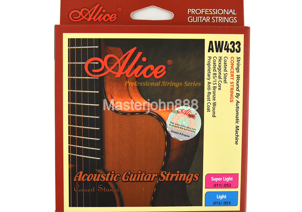 Alice AW433P-L/SL Acoustic Guitar Strings Plated Steel&Coated 85/15 Bronze Wound&Colourful Ball-End Strings