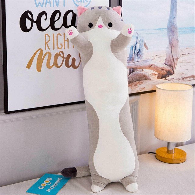 Plush Toys Animal Cat Cute Creative Long Soft Toys Office Lunch Break Nap Sleeping Pillow Cushion Stuffed Gift Doll for Kid gift