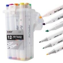 12 Colors Skin Tones Set Art Markers Pen Artist Dual Headed Alcohol Based Manga Brush Pen for Coloring 12Pcs/Set