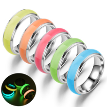 Glow in The Dark Luminous Stainless Steel Couple Engagement Wedding Ring Men Fluorescent Glowing Finger Ring for Women