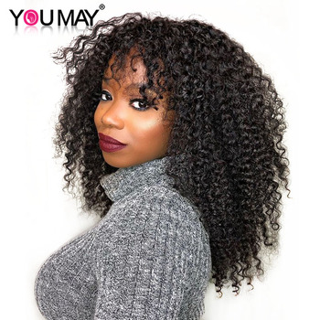 Kinky Curly Wigs With Bangs 250% Density Lace Front Human Hair Wigs Brazilian Lace Wigs For Women Natural Remy Hair Wig You May