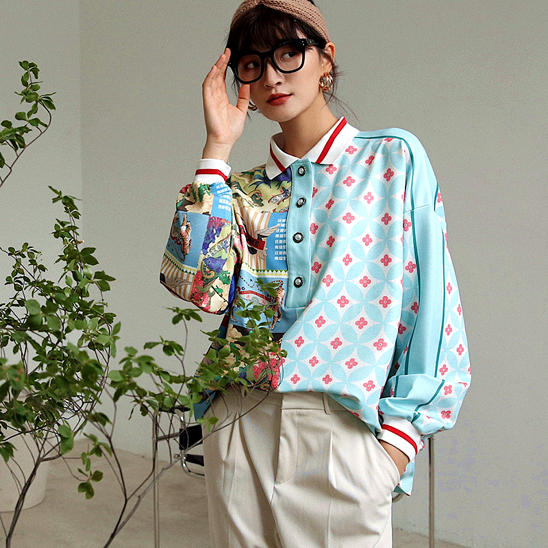 Harajuku Autumn Personality Printing Womens Tops And Blouses Turn Down Collar Full Sleeve Streetwear Casual Blouse Women SL049