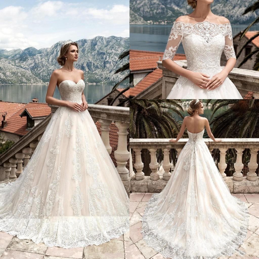 Vestidos De Noiva 2020 Wedding Dresses With Detachable Half Sleeves Lace Appliqued Bridal Gowns Custom Made Wedding Dresses