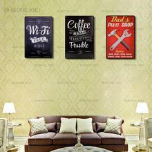 Vintage Metal Tin signs Coffee Menu Tea Wi- Fi Bar Beer Art Posters Home Decor Restaurant Cafe Wall Plaques