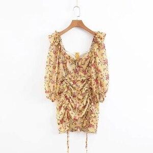 Image 1 - קיץ שמלת 2020 Boho פרחוני הדפסת שמלת נשים סקסי תחרה עד bow צהוב שמלת נקבה מקרית קוריאני בגדי מסיבת שמלה vestidos