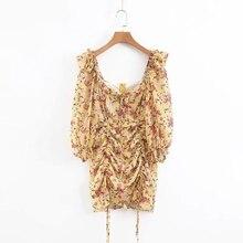 فستان صيفي 2020 بوهو الأزهار طباعة فستان المرأة مثير الدانتيل يصل القوس فستان أصفر الإناث ملابس غير رسمية الكورية فستان الحفلات vestidos