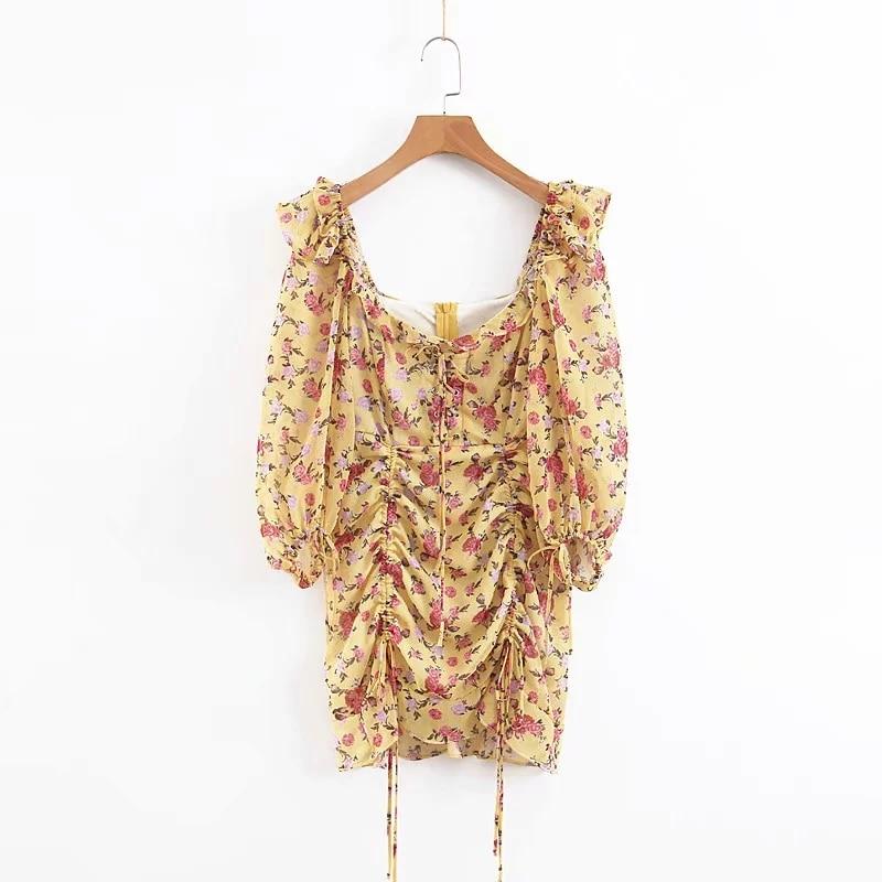 Letnia sukienka 2019 w stylu boho w kwiaty sukienka z nadrukiem kobiety sexy lace up bow żółta sukienka kobieta casual koreańskie ubrania party dress vestidos w Suknie od Odzież damska na