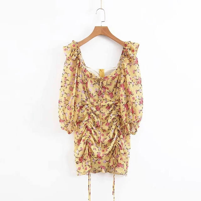Summer dress 2020 Boho floral print dress women sexy lace up bow yellow dress female casual korean clothes party dress vestidos