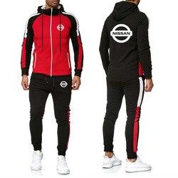 Мужская куртка для Nissan, с логотипом автомобиля, толстовка с принтом, модная, подходящая по цвету строчка, мужская куртка + штаны, 2 предмета, С...