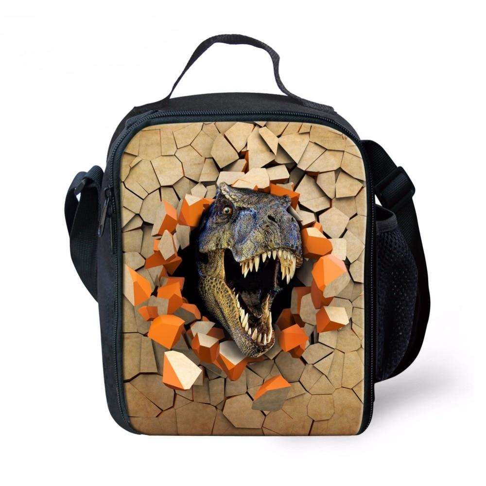 Bolsa para Meninos Bolsa de Comida com Bolso Moda Impressão Dinossauro Almoço Adolescentes Legal Criança Animal Lancheira Manter Quente Lateral