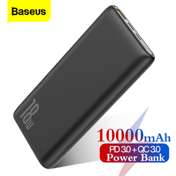 Banco de energía Baseus 10000mAh carga rápida 3,0 USB PD banco de energía rápido QC3.0 PD3.0 cargador de batería externo portátil para Xiaomi Mi 9