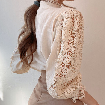 Petal Sleeve Stand Collar Hollow Out Flower Lace Patchwork Shirt Femme Blusas All-match Women Blouse Chic Button White Top 12419 6