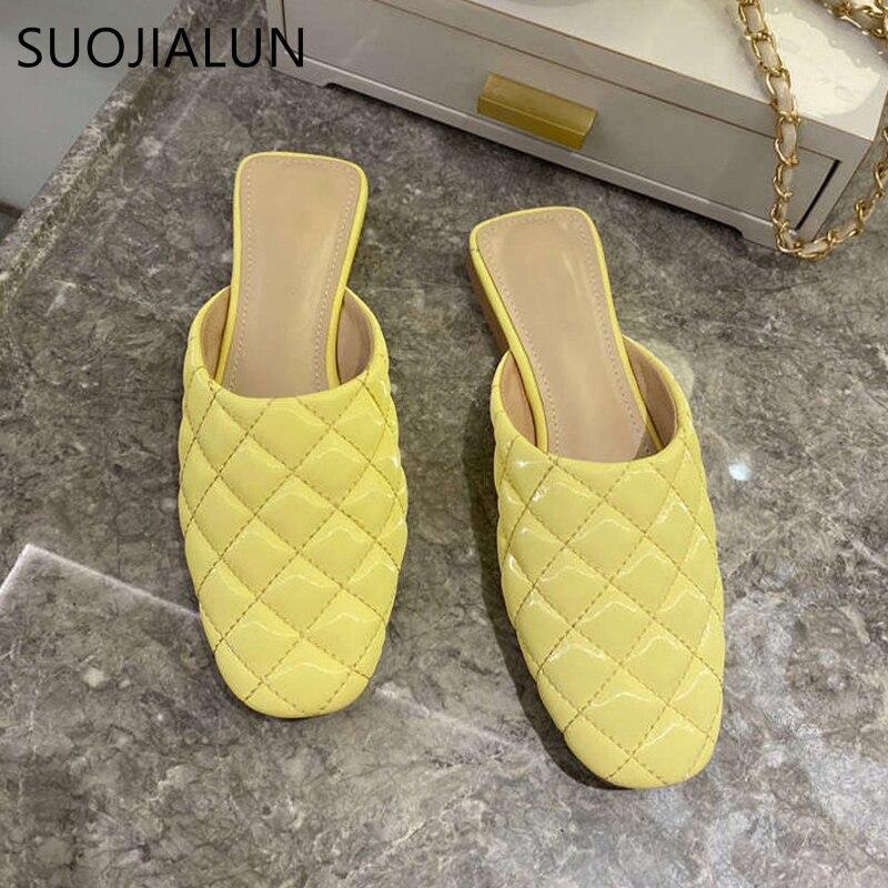 SUOJIALUN Round Toe Women Mules Slipper Brand Embroidery Elegant Mules Sandal Shoes Flat Heel Outdoors Slides Women Slipper