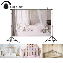 Allenjoy backgrounds for photography studio clean bright window indoor white wooden floor mattress backdrop newborn photocall