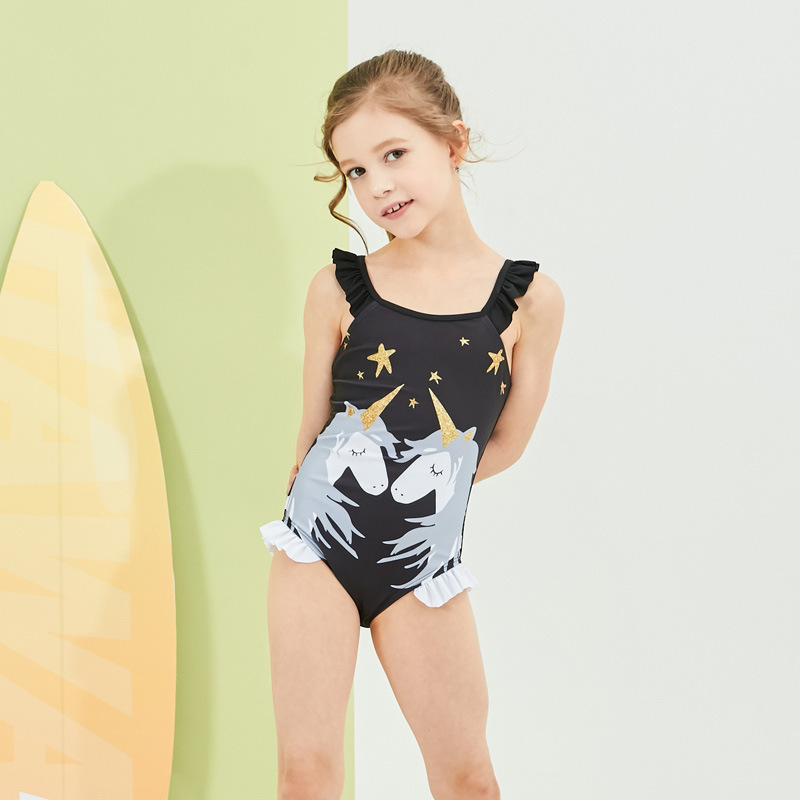 2019 Europe And America New Style Hot Sales One-piece Swimming Suit Flounced Unicorn Cute Girls Female Baby CHILDREN'S Swimwear