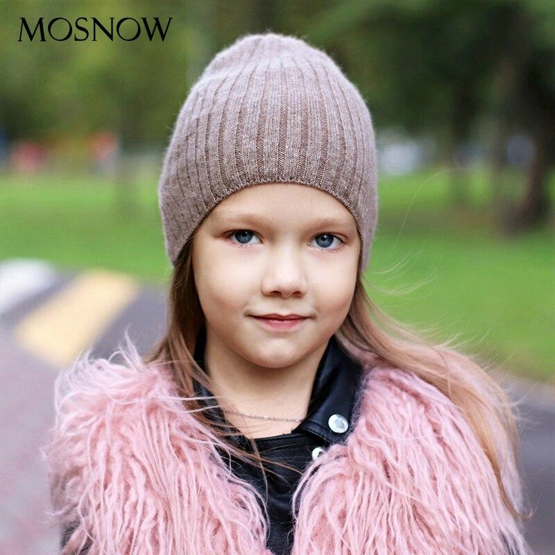 Winter Beanies For Kids Cap Rabbit Hair Blend Warmer Hats New Design Children Striped Daily Outdoor Girl Boy Hats Bonnet