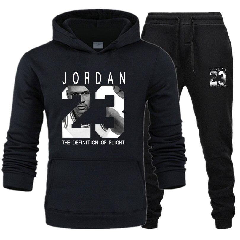 23 JORDAN Autumn Winter Hot Sale Men's Sets Hoodie+pants 2 Pieces Sets Casual Tracksuit Male Sportswear Gyms Fitness Sweatpants