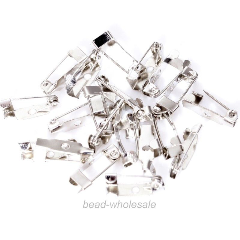 40pcs Smooth Silver Metal Flat Brooch Base 20mm 25mm 30mm with Safety Brooches Pin Diy Accessories Supplies for Jewelry Making Pakistan