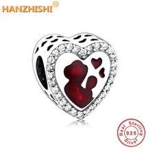 Бусина Шарм «сердце» из серебра 2020 пробы с красной эмалью