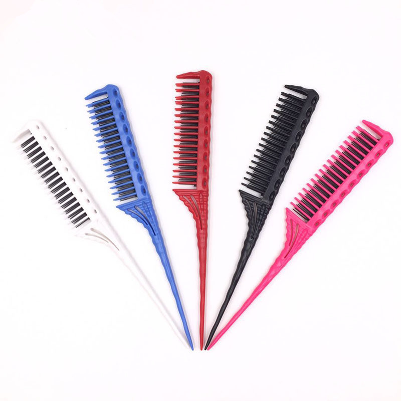 3-Row Teeth Teasing Comb Detangling Brush Rat Tail Comb Adding Volume Back Coming Hairdressing Combs
