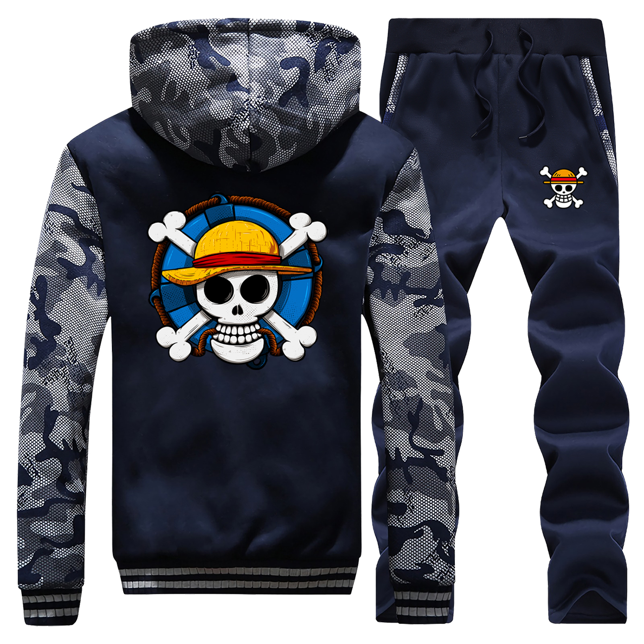 Skull Anime Hoodies Sweatshirts Mens One Piece Luffy Thick Tracksuit Hip Hop Zipper Winter Jacket+Pants Men Japanese Streetwear