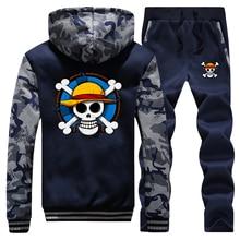 Thick Tracksuit Hoodies Skull Pants Men Anime One-Piece Sweatshirts Jacket Streetwear