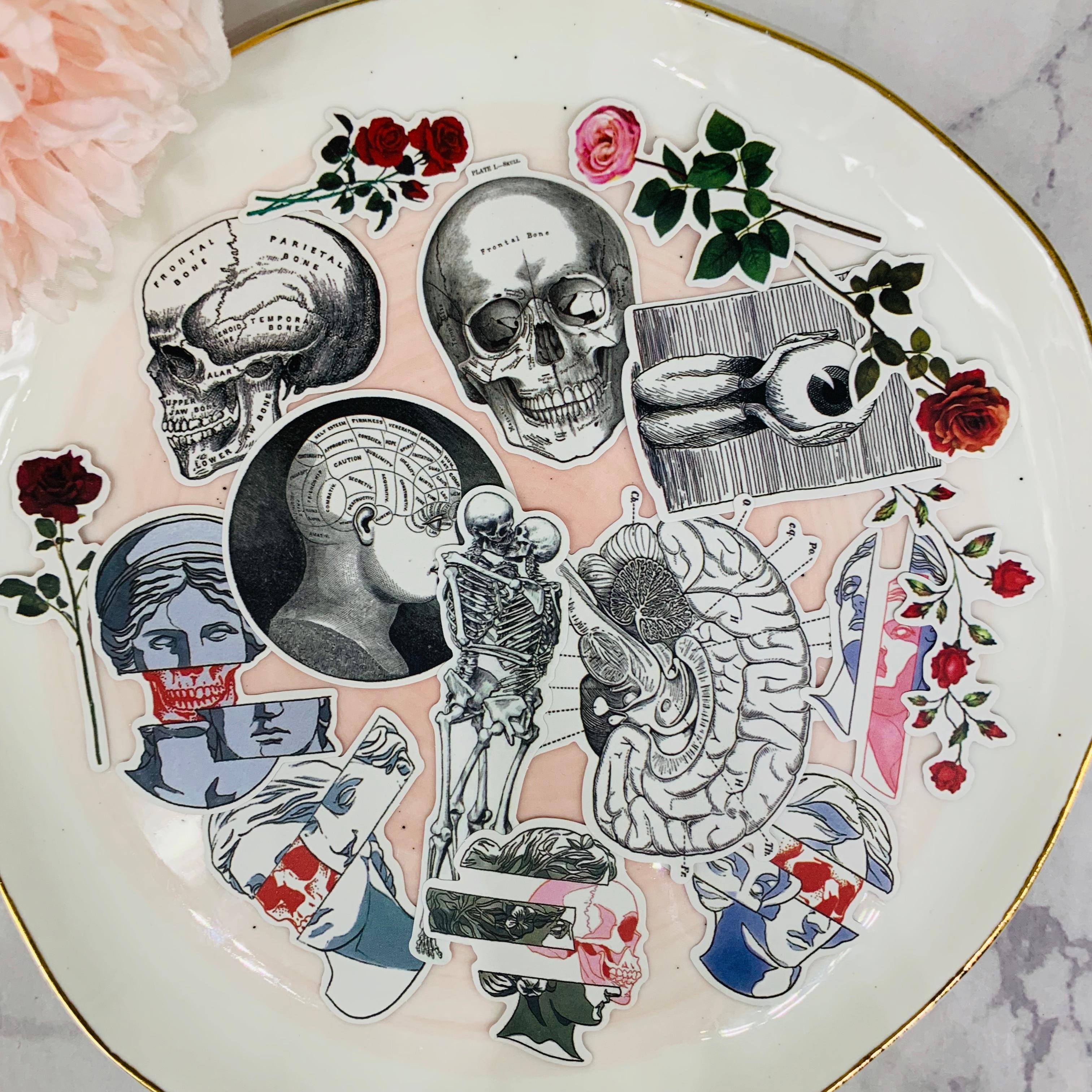 16Pcs/Pack Vintage Death Skull Skeleton Sticker DIY Scrapbooking Album Junk Journal Planner Decorative Stickers