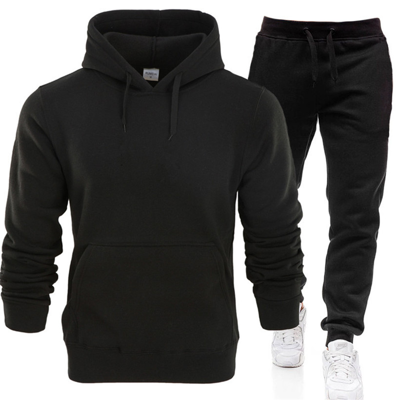 European And American Spring And Autumn Fashion Men's Sports Leisure Suit Men's Hooded Sweater Suit Two-piece Sportswear