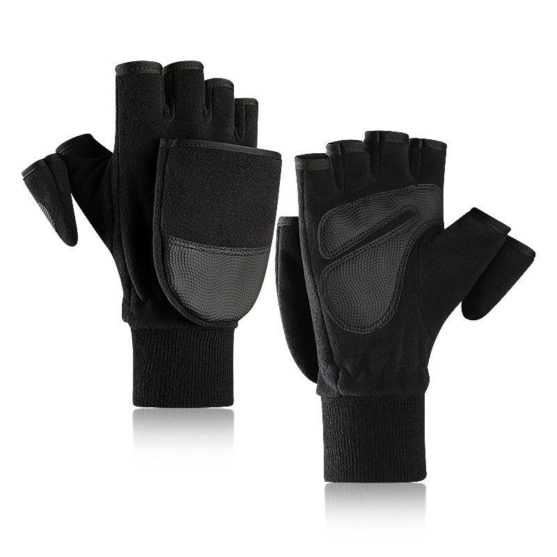 Men Women Winter Outdoor Sports Fingerless Flip Gloves Photography Running Fishing Gloves Fleece Slip-Proof Half Finger Gloves