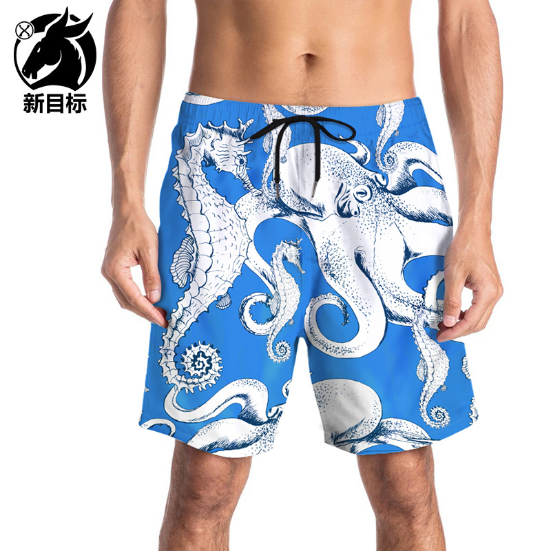 Europe And America Hot Sales Men Foreign Trade Large Size Beach Trunks Digital Hippocampus Octopus 3D Printed Quick-Dry Beach Sh