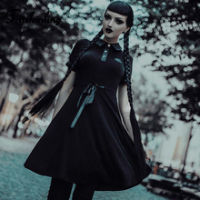 Fitshinling 2019 Goth Dark Pentagram Solid Party Dresses Turn-down Collar Button UP Harajuku Cotton Dress Punk Vintage