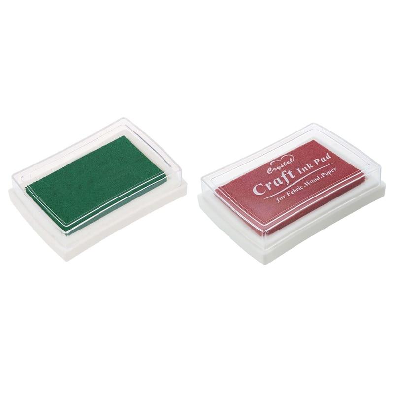 2 Pcs Ink Pad Ink Fingerprint Gift For Children, Red & Green