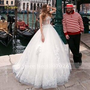 Image 4 - Loverxu ilusão colher bola vestido de casamento vestidos chiques apliques boné manga botão vestido de noiva tribunal trem vestidos de noiva mais tamanho