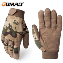 Multicam Outdoor Tactical Gloves Army Military Bicycle Airsoft Hiking Climbing Shooting Paintball Camo Sport Full Finger Glove cheap GUMAO Microfiber Unisex Novelty Wrist Solid