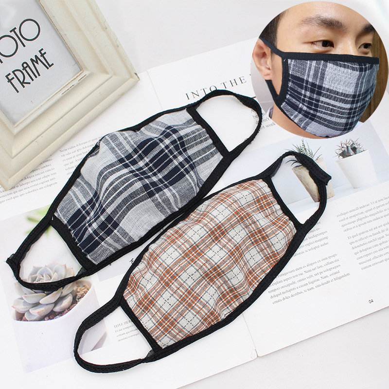 Colorful Lattice Mouth Mask Dust-proof Sponge Face Masks Reusable Anti Pollution Shield Wind Proof Mouth Cover Breathable