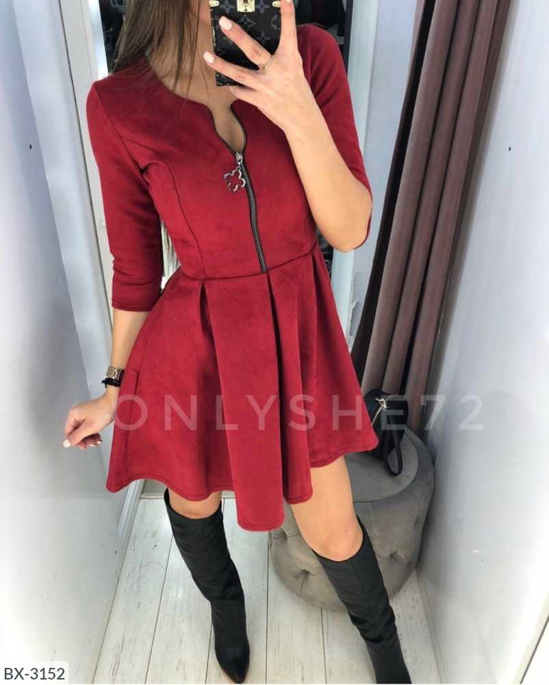 2019 Autumn Three Quarter Sleeve O-neck Four-leaf  Zip With Belt Dress Fashion Party Dresses Vestidos