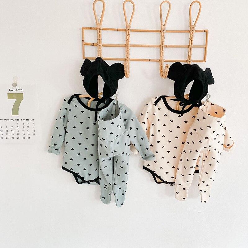 MILANCEL/2020 комплект одежды для малышей, боди для малышей, штаны с высокой талией, шапка с заячьими ушками, детский костюм из 3 предметов, комплек...