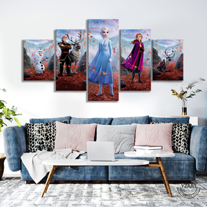Image 3 - 5pcs HD Cartoon Wall Picture Frozen 2 Cartoon Movie Poster Canvas Paintings Wall Art Home Decor