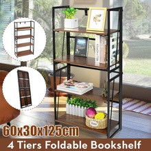 4 Tiers Bookshelf Foldable Display Stand Rack Large Space Storage Organizer Shelves for Books MDF Stable Steel Frame Home Office