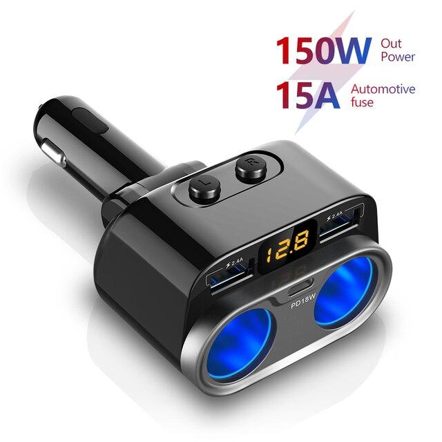 Aucu 150w adaptador de energia do carro pd tomada de carregamento rápido divisor tipo detecção tensão carregador de carro c 15a duplo usb carregadores