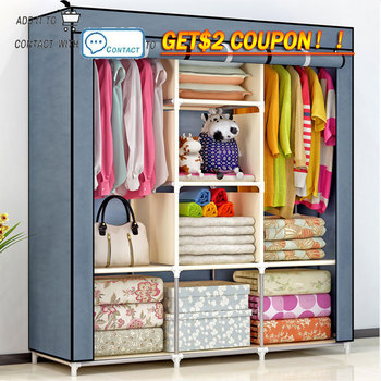 DIY Non-woven fold Portable Storage  furniture When the quarter wardrobe  Cabinet bedroom furniture wardrobe bedroom organ simple fashion wardrobe non woven fabric steel frame reinforcement standing storage organizer clothes cabinet bedroom furniture