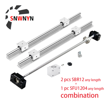 2pcs SBR12 Linear Rail+SFU1204 Ball Screw Any Length+1204 Nut +BKBF10 End Support+Coupling +1204 Nut Housing+4pc SBR12UU For XYZ цена 2017