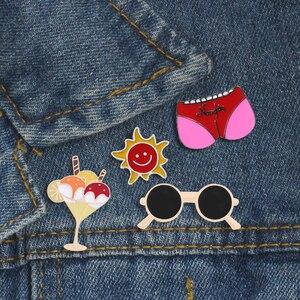 Летняя коллекция, забавные кремовые очки с большим прикладом, Солнцезащитная брошь, эмалированный штифт, значок, брошь, джинсовая рубашка с ...
