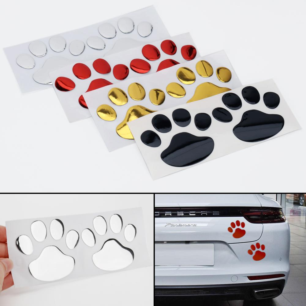 2pcs Car Sticker Car Paw 3D Cartoon Sticker Animal Dog Cat Bear Foot Prints Footprint Decoration Car Whole Body Stickers Decal