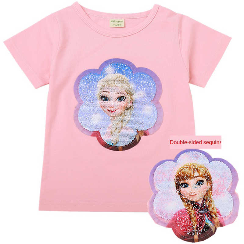Change Face Color Magic Discoloration Snow Queen Elsa Anna Girls T-shirts Sequin Paillettes Tops Tee T Shirt for Girl Gifts 2-8Y
