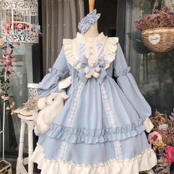 Kawaii Lolita Style Dress Women Lace Maid Costume Dress Cute  Japanese Costume Sweet Gothic Party Robe Renaissance Vestidos 2020 1